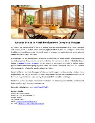 Wooden Blinds in North London from Complete Shutters