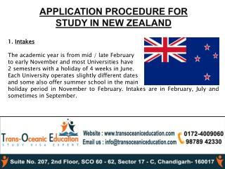 Application procedure for study in newzealand