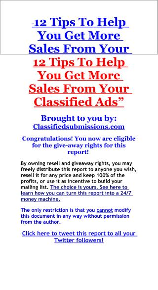 12 Ways To Get More Sales From Classified Ads