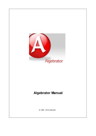 DoYourMath.com Algebrator Manual For Your Algebra Problem Solver