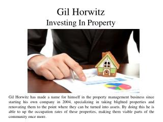 Gil Horwitz Investing In Property