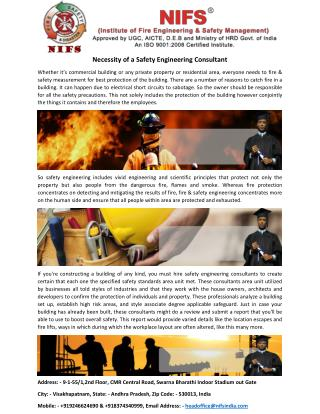 Necessity of a Safety Engineering Consultant