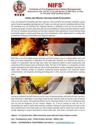 Safety Jobs Mission Decrease Death & Casualties
