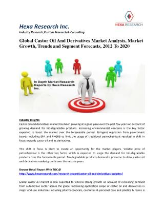 Global Castor Oil And Derivatives Market Analysis, Growth, Trends and Segment Forecasts, 2012-2020
