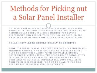 Methods for Picking out a Solar Panel Installer