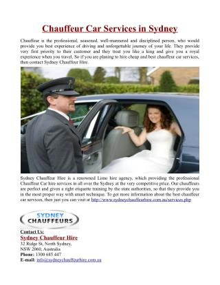 Chauffeur Car Services in Sydney