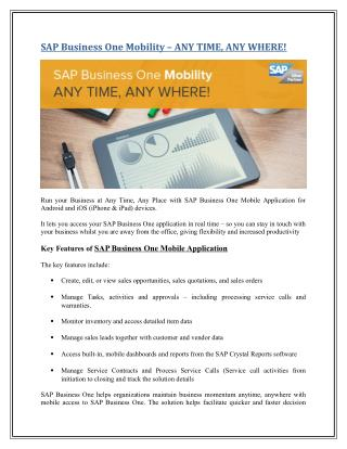 SAP Business One Mobility – ANY TIME, ANY WHERE!
