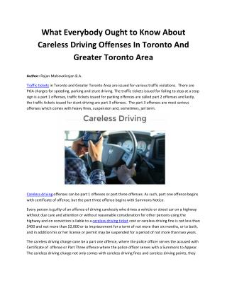What Everybody Ought to Know About Careless Driving Offenses In Toronto And Greater Toronto Area