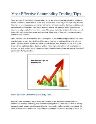 Most Effective Commodity Trading Tips