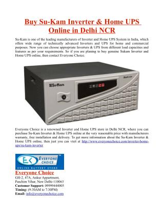 Buy Su-Kam Inverter and Home UPS Online