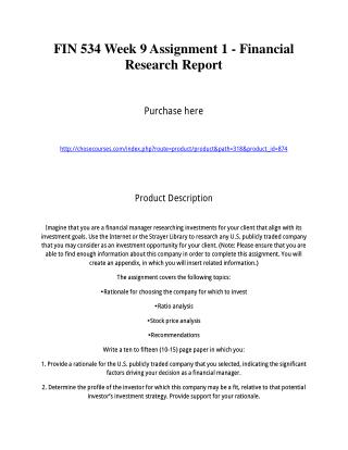 FIN 534 Week 9 Assignment 1 - Financial Research Report