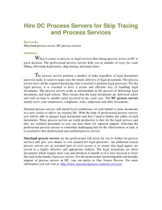 Hire DC Process Servers for Skip Tracing and Process Services