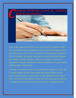 Common Problems Faced By Students With Essay Writing
