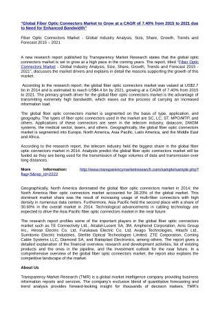 Fiber Optic Connectors Market 2015 – 2021