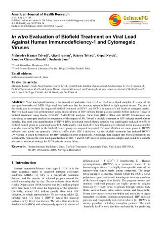 In vitro Evaluation of Biofield Treatment on Viral Load Against Human Immunodeficiency-1 and Cytomegalo Viruses