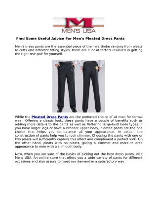 Designer Pleated Dress pants & flat-front For Suits & Shirts