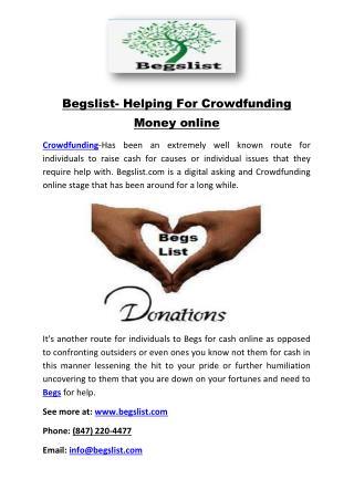 Begslist- Helping For Crowdfunding Money online