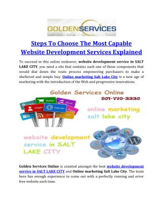 Steps To Choose The Most Capable Website Development Services Explained