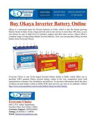 Buy Okaya Inverter Battery Online