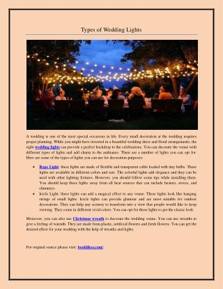 Types of Wedding Lights