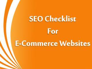 SEO Checklist For E-Commerce Websites