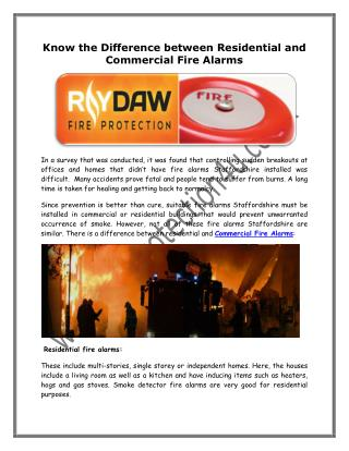 Know the Difference between Residential and Commercial Fire Alarms