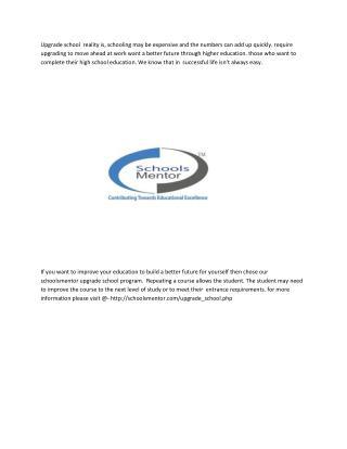 planning of upgrade schools with schoolsmentor