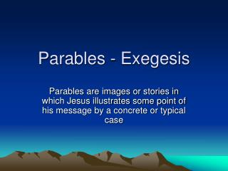 Parables - Exegesis