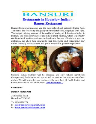 Restaurants in Hounslow Indian