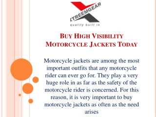 Buy High Visibility Motorcycle Jackets Today