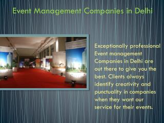 Event Management Companies in Delhi