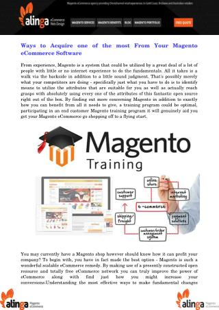 Ways to Acquire one of the most From Your Magento eCommerce Software