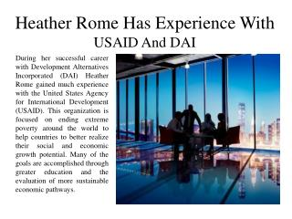 Heather Rome Has Experience With USAID And DAI