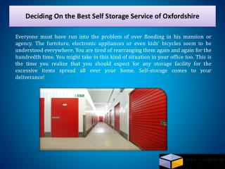 Deciding On the Best Self Storage Service of Oxfordshire