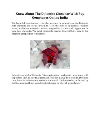 Know About The Dolomite Cinnabar With Buy Gemstones Online India