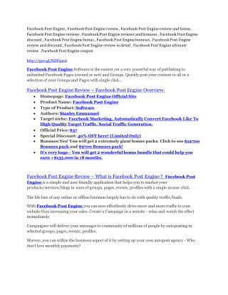 Facebook Post Engine review - Facebook Post Engine top notch features