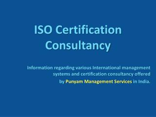 ISO Certification Consultancy in India
