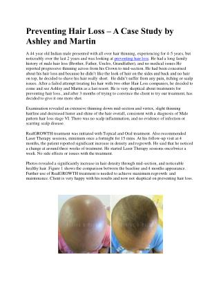 Preventing Hair Loss – A Case Study by Ashley and Martin