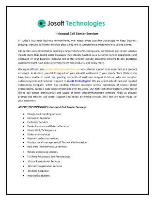 Inbound Call Center Services provided by Josoft technology