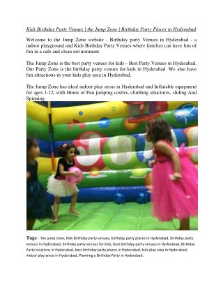 Kids Birthday Party Venues - The Jump Zone - Birthday Party Places in Hyderabad.pdf