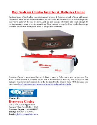 Buy Su-Kam Combo Inverter & Batteries Online