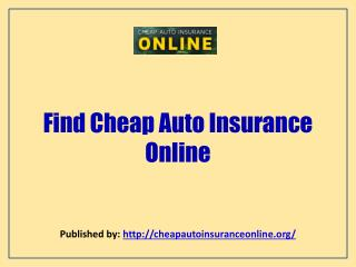Find Cheap Auto Insurance Online