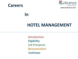 Careers In HOTEL MANAGEMENT
