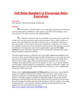 Call Sales Speakers to Encourage Sales Executives