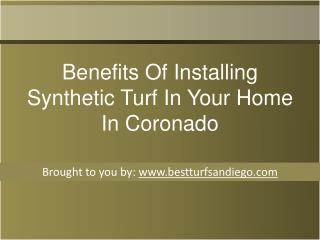 Benefits Of Installing Synthetic Turf In Your Home In Coronado
