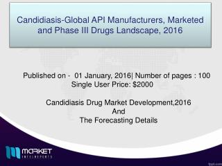 Pipeline status  of Market of the drugs for candidiasis diseases,2016