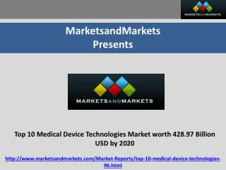 Top 10 Medical Device Technologies Market Expected to Reach 428.97 Billion USD by 2020
