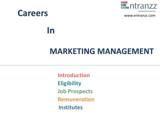 Careers In MARKETING MANAGEMENT