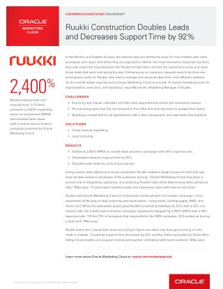 Ruukki Construction Doubles Leads and Decreases Support Time by 92%