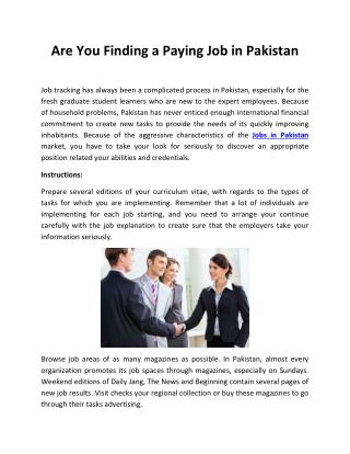 Are You Finding a Paying Job in Pakistan
